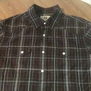 Levis Mens Pearl Snap Button Down Shirt Paid Sz M
